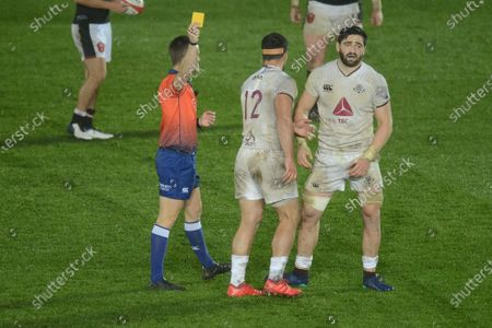 Beka Saginadze of Georgia is shown the yellow card for his tackle on Justin Tipuric of Wales