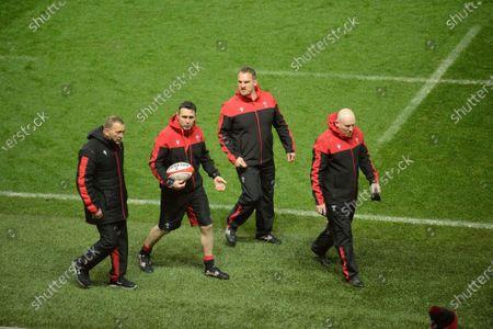 Wales coaches Jonathan Humpreys, Stephen Jones, Gethin Jenkins and Neil Jenkins