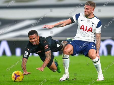 Toby Alderweireld (R) of Tottenham in action against Gabriel Jesus (L) of Manchester City during the English Premier League soccer match between Tottenham Hotspur and Manchester City in London, Britain, 21 November 2020.