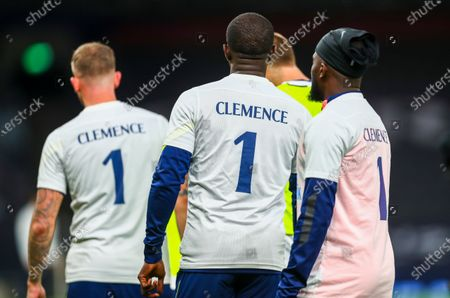 Tottenham players wear shirts in memory of late England goalkeeper Ray Clemence, who died on 15 November, ahead of the English Premier League soccer match between Tottenham Hotspur and Manchester City in London, Britain, 21 November 2020.