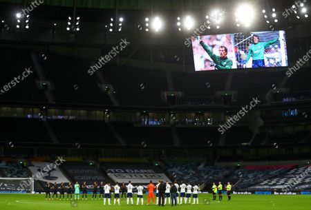 Stock Picture of Players of Manchester City (back L) and Tottenham (front) applaud in memory of late England goalkeeper Ray Clemence, who died on 15 November, ahead of the English Premier League soccer match between Tottenham Hotspur and Manchester City in London, Britain, 21 November 2020.