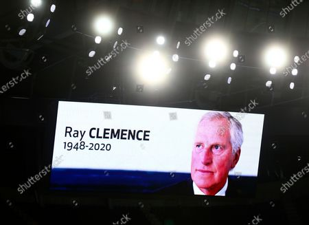Late England goalkeeper Ray Clemence, who died on 15 November, is shown on a huge screen ahead of the English Premier League soccer match between Tottenham Hotspur and Manchester City in London, Britain, 21 November 2020.