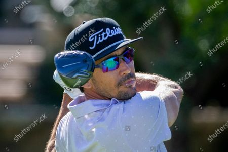 Rafa Cabrera Bello, of Spain, watches his drive down the 10th fairway during third round of the RSM Classic golf tournament, Saturday, Nov., 21, 2020, in St. Simons Island, Ga