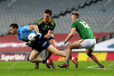 Dublin vs Meath. Dublin's Dean Rock is tackled by Shane McEntee of Meath