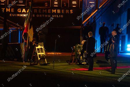 Dublin vs Meath. Uachtarán na hÉireann Michael D Higgins places a wreath during the GAA Bloody Sunday Commemoration at Croke Park.