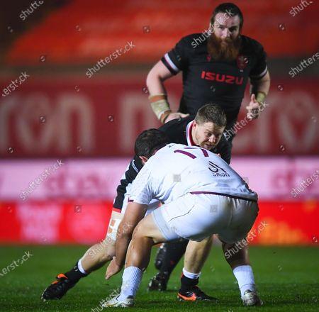 Wales vs Georgia. Wales' James Davies comes up against Guram Gogichashvili of Georgia