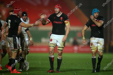 Stock Picture of James Botham, Seb Davies and Justin Tipuric of Wales.