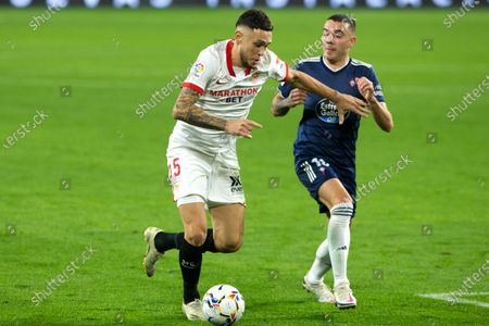 Lucas Ocampos of Sevilla and Iago Aspas of Celta during LaLiga, football match played between Sevilla Futbol Club and Real Club Celta de Vigo at Ramon Sanchez Pizjuan Stadium on November 21, 2020 in Sevilla, Spain.
