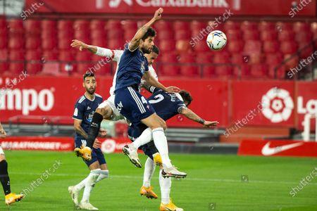 Stock Image of Goal of Youssef En-Nesyri of Sevilla during LaLiga, football match played between Sevilla Futbol Club and Real Club Celta de Vigo at Ramon Sanchez Pizjuan Stadium on November 21, 2020 in Sevilla, Spain.