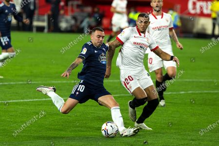 Iago Aspas of Celta and Diego Carlos of Sevilla during LaLiga, football match played between Sevilla Futbol Club and Real Club Celta de Vigo at Ramon Sanchez Pizjuan Stadium on November 21, 2020 in Sevilla, Spain.