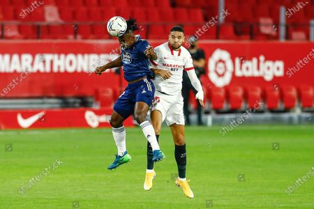Joseph Aidoo of RC Celta and Youssef En Nesyri of Sevilla FC