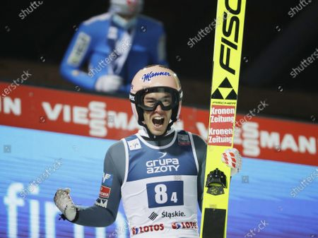Austria's Stefan Kraft celebrate winning the Men's Team in Wisla, Poland