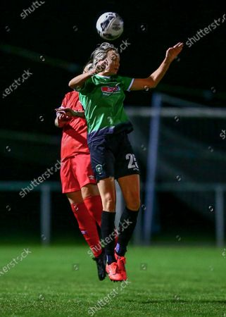 Peamount United vs Shelbourne. Peamount's Stephanie Roche wins a header against Shelbourne's Rachel Graham