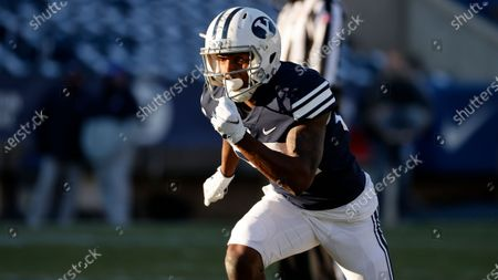 Stock Image of Wide receiver Chris Jackson (82) runs a route against North Alabama during an NCAA college football game, in Provo, Utah