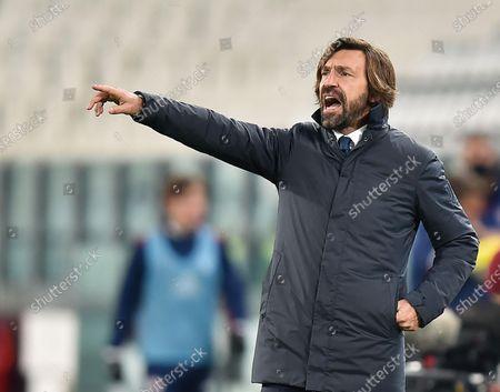 Juventus coach Andrea Pirlo gestures during the Italian Serie A soccer match Juventus FC vs Cagliari Calcio at the Allianz stadium in Turin, Italy, 21 November 2020.