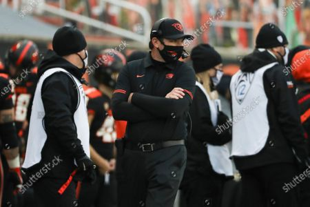 Stock Image of Oregon State head coach Jonathan Smith looks on during the second half of an NCAA college football game against California in Corvallis, Ore., . Oregon State won 31-27