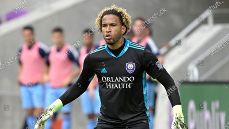Stock Photo of Orlando City goalkeeper Pedro Gallese (1) follows a play during the second half of an MLS soccer playoff match against New York City FC, in Orlando, Fla