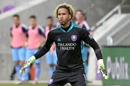 Orlando City goalkeeper Pedro Gallese (1) follows a play during the second half of an MLS soccer playoff match against New York City FC, in Orlando, Fla