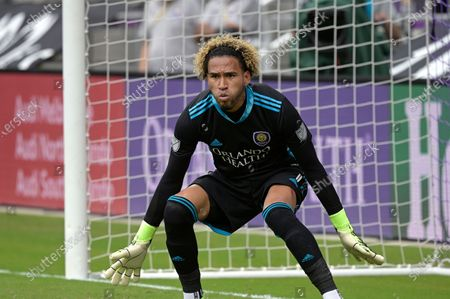 Stock Image of Orlando City goalkeeper Pedro Gallese (1) follows a play during the second half of an MLS soccer playoff match against New York City FC, in Orlando, Fla