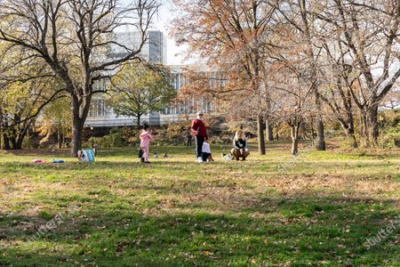 People enjoy warm sunny Sunday on the lawn during parks naming at St. Nicholas Park. Lawn in the park has been named after James Baldwin and playground after Langston Hughes.