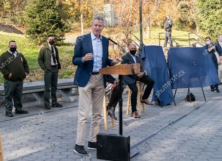 Mayor Bill de Blasio speaks during parks naming at St. Nicholas Park. Lawn in the park has been named after James Baldwin and playground after Langston Hughes.