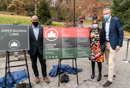 Mitchell Silver, Chirlane McCray, mayor Bill de Blasio participate in parks naming at St. Nicholas Park. Lawn in the park has been named after James Baldwin and playground after Langston Hughes.