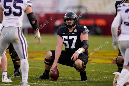 Stock Image of Iowa State center Colin Newell gets set to hike the ball during the first half of an NCAA college football game against Kansas State, in Ames, Iowa