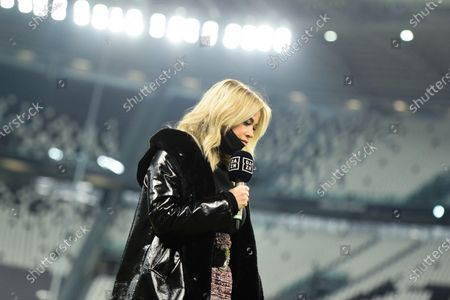 Stock Image of Italian TV Journalist of DAZN Diletta Leotta during the Serie A football match between Juventus FC and Cagliari Calcio at Allianz Stadium on november 21, 2020 in Turin, Italy during the Serie A football match between Juventus FC and Cagliari Calcio at Allianz Stadium on november 21, 2020 in Turin, Italy
