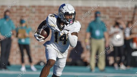 Stock Picture of Appalachian State's Malik Williams runs a kickoff up the field during the second half of an NCAA college football game against Coastal Carolina, in Conway, S.C. Coastal Carolina won 34-23
