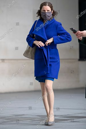 Shadow Chancellor of the Exchequer Anneliese Dodds departs the BBC after appearing on the Andrew Marr Show.