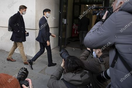 Stock Photo of Chancellor of the Exchequer Rishi Sunak arrives at the BBC. Later he will appear on the Andrew Marr Show.