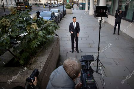 Chancellor of the Exchequer Rishi Sunak speaks to the media outside the BBC. Later he will appear on the Andrew Marr Show.