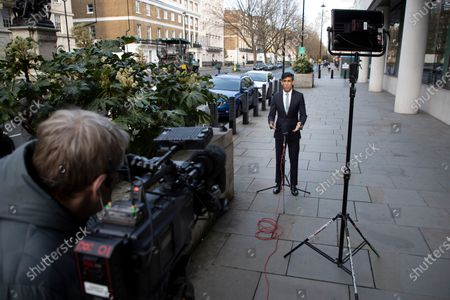 Stock Image of Chancellor of the Exchequer Rishi Sunak speaks to the media outside the BBC. Later he will appear on the Andrew Marr Show.