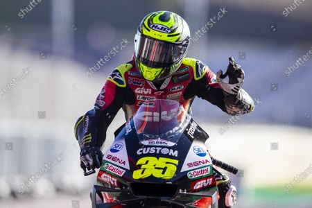 British rider Cal Crutchlow of LCR Honda Team reacts at the end of the Motorcycling Grand Prix of Portugal at Algarve International race track in Portimao, Portugal, 22 November 2020.