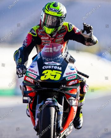 Stock Photo of British rider Cal Crutchlow of LCR Honda Team reacts at the end of the Motorcycling Grand Prix of Portugal at Algarve International race track in Portimao, Portugal, 22 November 2020.