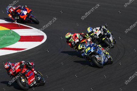 Spanish rider Joan Mir of Suzuki Ecstar Team, Italian rider Danilo Petrucci (L) of Ducati Team, Italian rider Lorenzo Savadori of Aprilia Racing Team (2-R), Spanish rider Tito Rabat (R) of Esponsorama Racing Team and Finish rider Mika Kallio KTM Tech3 Team during the Motorcycling Grand Prix of Portugal at Algarve International race track in Portimao, Portugal, 22 November 2020.