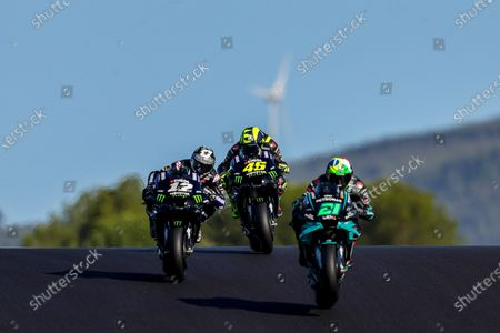 (R-L) Italian rider Franco Morbidelli of Petronas Yamaha SRT, Italian rider Valentino Rossi of Monster Energy Yamaha Team and Spanish rider Maverick Vinales of Monster Energy Yamaha Team during the warm up session for the Motorcycling Grand Prix of Portugal at Algarve International race track, south of Portugal, 22 November 2020.