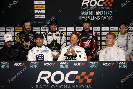 2017 Race of Champions Miami, Florida, USA Friday 20 January 2017 Press Conference with Helio Castroneves, Tony Kanaan, Jenson Button, David Coulthard, James Hinchcliffe, Petter Solberg, Kurt Busch, Felipe Massa World Copyright: Alexander Trienitz/LAT Photographic