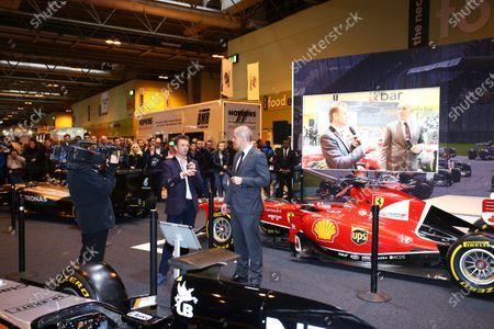 Autosport International Exhibition. National Exhibition Centre, Birmingham, UK. Saturday 14 January 2017. Stuart Codling and Allan McNish on the F1 Racing display. World Copyright: Mike Hoyer/EbreyLAT Photographic. Ref: MDH17668