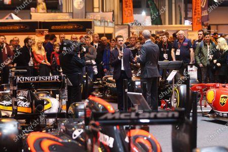 Autosport International Exhibition. National Exhibition Centre, Birmingham, UK. Saturday 14 January 2017. Stuart Codling and Allan McNish. World Copyright: Mike Hoyer/EbreyLAT Photographic. Ref: MDH39232