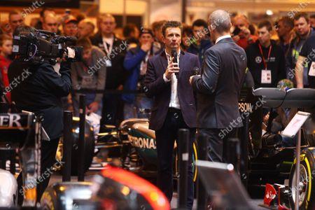 Autosport International Exhibition. National Exhibition Centre, Birmingham, UK. Saturday 14 January 2017. Stuart Codling and Allan McNish. World Copyright: Mike Hoyer/EbreyLAT Photographic. Ref: MDH39228