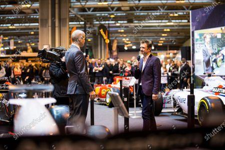 Autosport International Exhibition. National Exhibition Centre, Birmingham, UK. Saturday 14 January 2017. Allan McNish on the F1 Racing stand Photo: Sam Bloxham/LAT Photographic