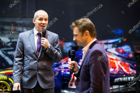 Autosport International Exhibition. National Exhibition Centre, Birmingham, UK. Saturday 14 January 2017. Stuart Codling and Allan McNish on the F1 Racing stand Photo: Sam Bloxham/LAT Photographic