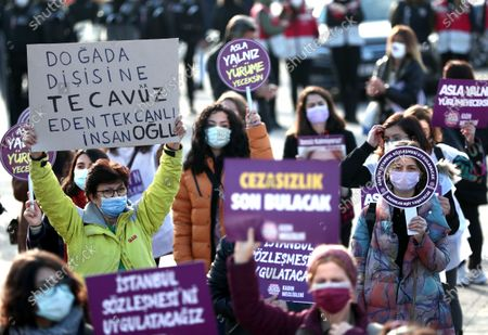 Editorial image of Rally for the prevention of violence against women, in Istanbul, Turkey - 22 Nov 2020