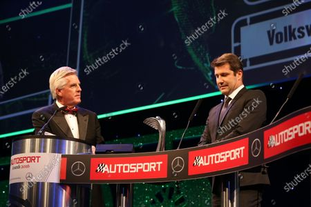 2016 Autosport Awards.  Grosvenor House Hotel, Park Lane, London. Sunday 4 December 2016.  Volkswagen WRC technical chief Francois Demaison receives the Rally Car of the Year award for the VW Polo, on stage with Steve Rider. World Copyright: Jed Leicester/LAT Images.