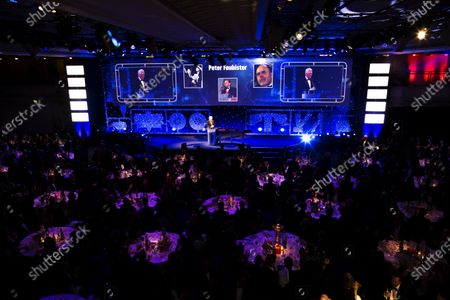 2016 Autosport Awards. Grosvenor House Hotel, Park Lane, London. Sunday 4 December 2016. Steve Rider pays tribute to the late Peter Foubister.  World Copyright: /LAT Photographic.