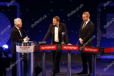 2016 Autosport Awards. Grosvenor House Hotel, Park Lane, London. Sunday 4 December 2016. Nigel Mansell onstage with Sir Chris Hoy and Steve Rider after receiving the Gregor Grant Award  World Copyright: /LAT Photographic.