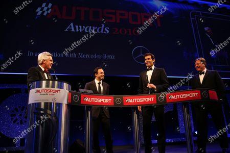 2016 Autosport Awards. Grosvenor House Hotel, Park Lane, London. Sunday 4 December 2016. Steve Rider, Felipe Massa, Williams Martini Racing, Mark Webber and Zak Brown World Copyright: /LAT Photographic.