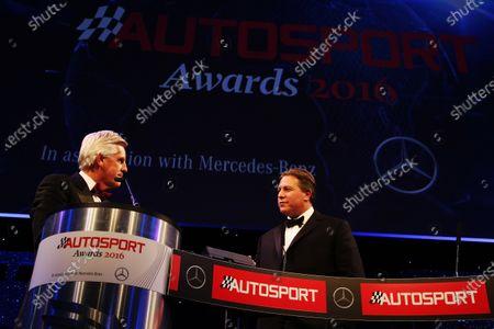 Stock Image of 2016 Autosport Awards. Grosvenor House Hotel, Park Lane, London. Sunday 4 December 2016. Zak Brown on stage with Steve Rider World Copyright: /LAT Photographic.