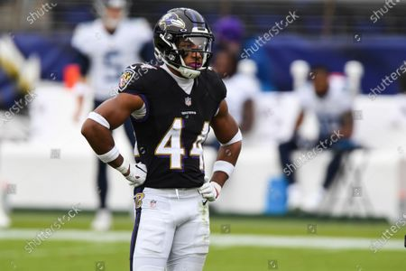Baltimore Ravens cornerback Marlon Humphrey (44) looks on during the first half of an NFL football game against the Tennessee Titans, in Baltimore